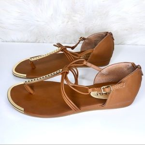 Rampage Shoes - RAMPAGE | Tan and Gold flats